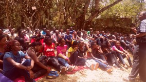 Nursing students during a session on career progression by Mr. Ogolla from Nursing Council of Kenya at Arboretum grounds during a mentorship trip.