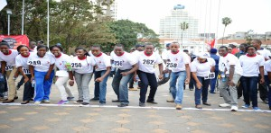 Students from school of Nursing taking part in MKU sponsored anti-jigger campaign at KICC